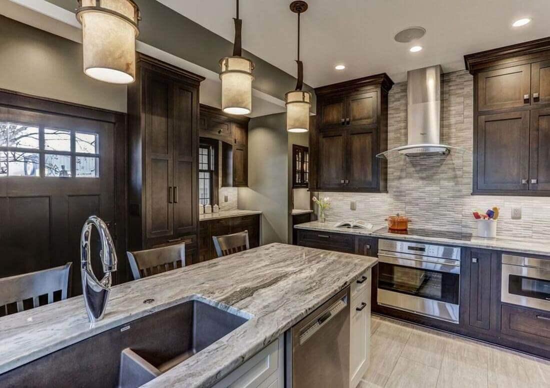 Top-rated kitchen countertop materials: Granite kitchen countertop used in a Twin Cities kitchen remodel